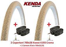 """2 Copertoni Kenda 700x28 Kwest Crema + 2 Camere per bici 28"""" R Viaggio bacchetta"""