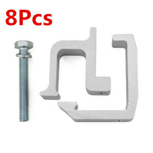 8 Truck Rack Shell Clamps Powder Coated Mounting Clamps Sliver for Truck Caps