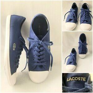 7, Women Lacoste Ziane Navy Blue Canvas Shoes Casual Flats