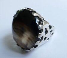 Brun Grand Cabochon Bague Argent 925 Vintage 90er silver ring