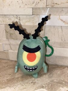 """PLANKTON Stuffed Plush Toy 4"""" Tall BackPack Clip On"""