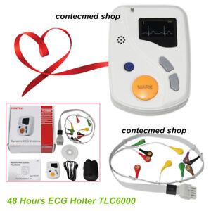 Dynamic ECG Holter Systems 48 Hours EKG Recorder/Analyzer 12 Leads CE TLC6000