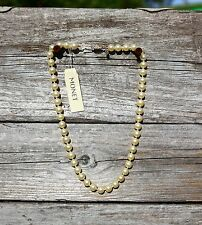 MONET signed faux pearl beaded ornate gold tone clasp   NECKLACE