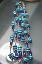 925 silver 65gr 3-row turquoise, sodalite & coral stone ethnic necklace.