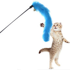 Kitten Pet Teaser Turkey Feather Interactive Toy Wire Chaser Wand For Cat New