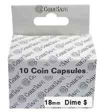 10 Retail CoinSafe 18mm Airtight Coin Capsules for Dime