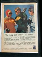Head Skis  ~ 1967 Vintage Print Ad ~ The Head Man is More than a Skier