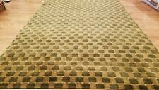 6 x 9 Brown & Olive Modern Checked Hand Knotted Wool Nepal rug