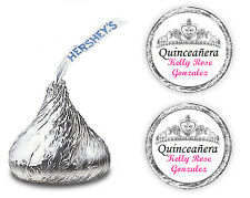 108 QUINCEANERA PARTY FAVORS PERSONALIZED KISSES LABELS KISS CROWN TIARA