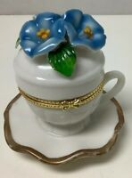 """Trinket Box - Porcelain Teacup And Attached Saucer W/ Morning Glory Flower- 3"""""""