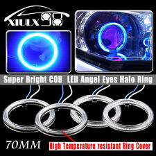4x Ultra Blue70mm COB LED Super Bright Halo Ring Lamps CCFL Head Light Angel Eye