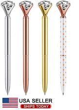 4 Pcs Rose Gold Pen with Big Diamond/Crystal,Metal Ballpoint Pen,Rose Gold White