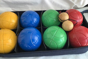 Set Of 8 Coloured Metal French Boules