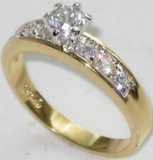 Cubic Zirconia Yellow Gold Plated Engagement Costume Rings