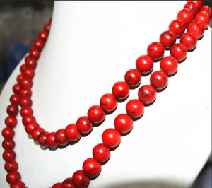 AAA Charming 10mm Red Turkey Turquoise Gem Round Necklace 24-72''
