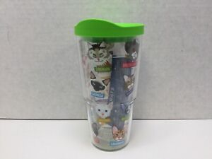 Tervis Flat Art Cat Breeds Tumbler 24 oz With Lime Green Lid NWT