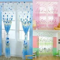 Floral Tulle Voile Door Window Curtain Drape Panel Sheers Scarf Valances Divider