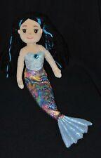 Peluche doudou poupée sirène AURORA bleu argent cheveux noirs 45 cm TTBE