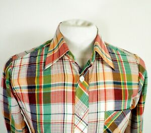 1970s Rainbow and White Check Dagger Collar Long Sleeve Shirt by Escort Size S