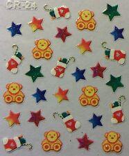 Nail Art 3D Stickers Glitter Decals Christmas Stockings Stars Teddy Bear CR24