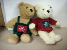 Hallmark Mistletoe Kiss Bears Xmas Stuffed Animal Toy Snowflake Top Set of 2