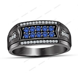 Two Row 0.87 CT Round Sapphire & Diamond Wedding Band Ring In Black Gold Finish