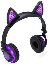 SoundBeast Wireless Bluetooth Cat Ear Headphones with Glowing Purple Lights