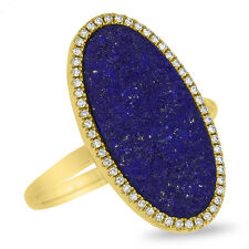 14K Yellow Gold Diamond and Lapis Lazuli Oval Cocktail Ring, Middle Finger Ring