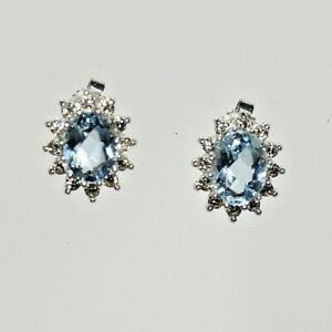 14 Karat white gold Natural Aquamarine & Diamond Stud Earrings