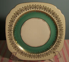 Square Green Band Gold Trim Porcelain Dessert Plate 7""