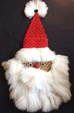 Vintage Macrame Santa Claus Hanging Card Holder