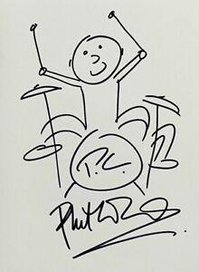 Phil Collins 'Genesis' Self Portrait 11x8 Doodle Sketch Art Drawing Signed