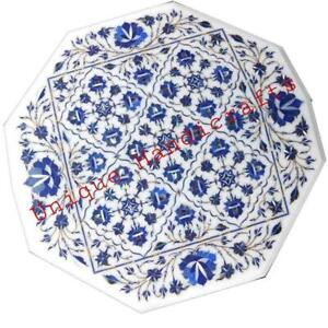 White Small Side Table Marble Inlay Intricate Floral Marquetry Inlay Stone Arts