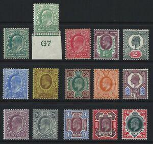 EDWARD VII 1902/13 SET OF 15v. AVERAGE MOUNTED MINT, SOME MINOR FAULTS AS SCANS