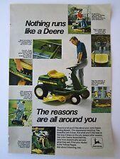 VTG 1974 John Deere 57 Riding Mower Lawn Tractor Print Ad Page Yard Home Garden