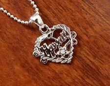 Hawaiian Jewelry 925 Sterling Silver Plumeria Heart Pendant Necklace SP54801