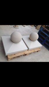 "Cast stone pier caps 625mm x 625mm  + 12"" Ball"