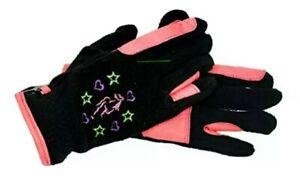 Riders Trend Girl's Riding Fleece Gloves S, Black / Pink