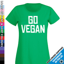Ladies GO Vegan Tshirt - Vegetarian Diet T shirt Vegans Activist Food Ladies