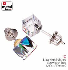 Mens Womens 925 Sterling Silver Crystal 3D Cube Screw Back Earrings BL Multy