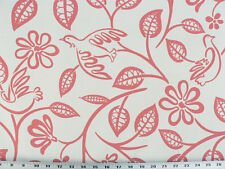 Drapery Upholstery Fabric Modern Printed Cotton Floral/Bird Design - Salmon Pink