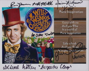 WILLY WONKA SIGNED BY 5 - AUTOGRAPHED 10x8 PHOTO COA