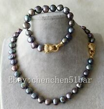 kultivierte 11-12mm schwarz Süßwasser Perlenkette Armband Leopard Kopfschließe