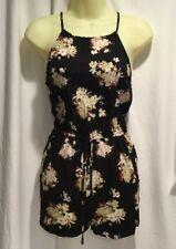 Sweet Wanderer Floral Romper with Side Slit Pockets & Drawstring Waist Size L