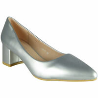 Ladies Womens Smart Court Shoes Mid Heel Pointed Work Office Patent Comfy Sizes