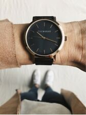 The Horse Watch. Black and rose gold. The Original. Black leather band. RRP $149