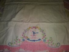 Vtg Pillowcase w/Embroidered Lady and Filet Crocheted Border Added Hem-Yellowing