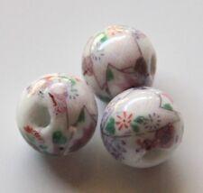 25pcs 12mm Round Porcelain/Ceramic Beads - White / Lavender Wisteria