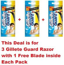 3 Gillette Guard Razor with blade cartridge for Smooth and Clear Men Shaving