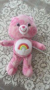 Vintage Care Bear Pink Tie Dye Rainbow Cheer Bear 34cms